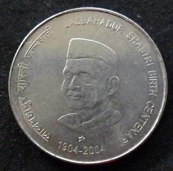 India Moneda Centenario De Lalbahadur Shastri 5 Rupias 2004