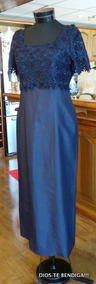Vestido Noche Shantu Y Macrame Azul Matrimonio Fiesta Tm