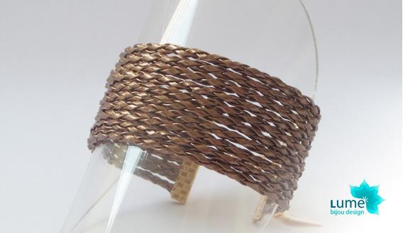 Lume Bijou - Pulseira De Couro Bronze Folheada