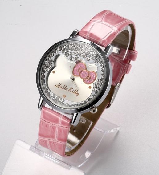 Relógio Feminino Hello Kitty Pulseira De Couro