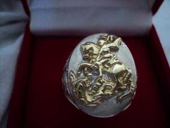 Anel Sao Jorge Em Prata Com Detalhes Banhado A Ouro.