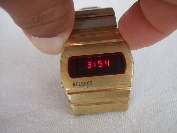 Reloj Helbros Leds Rojos Hecho En Los E.u. Dorado Vintage