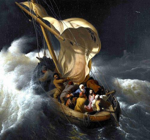 Lienzo Tela Canva Cristo En La Tormenta Mar De Galilea 62x50 Mercado Libre
