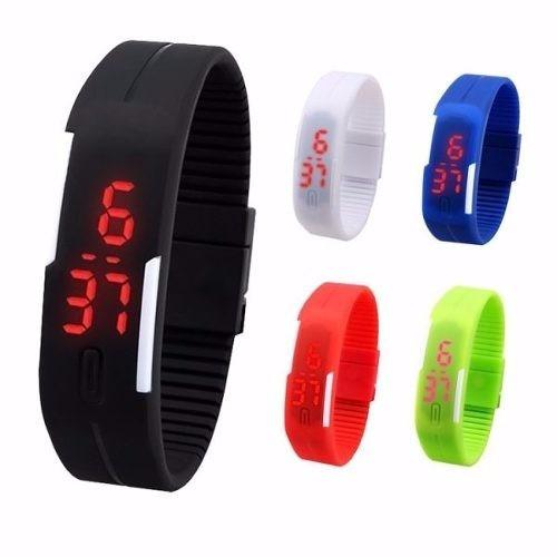 Kit 10 Relógios Slim Led Digital Silicone Pulseira Borracha