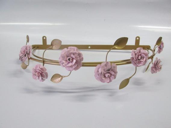 Dossel Dourado Ouro De Flor Rosa + Mosquiteiro + Prendedor