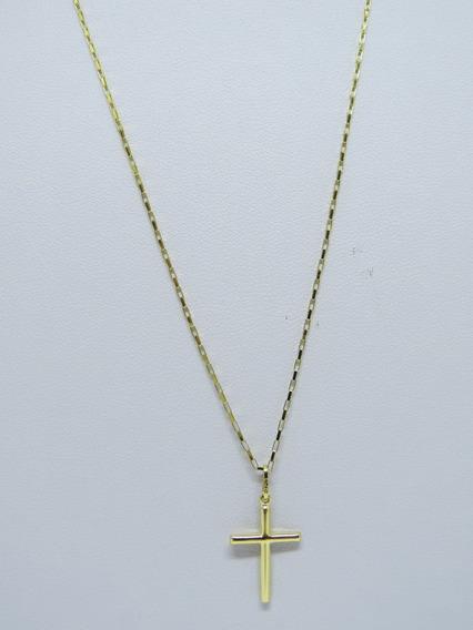 Cordão Corrente Elo Quadrado70cm Pingente Crucifixo Ouro 18k