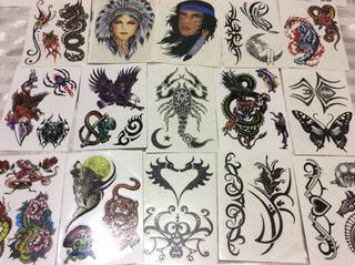 15 Cartelas De Tatuagem Temporária Sortidas Frete Grátis