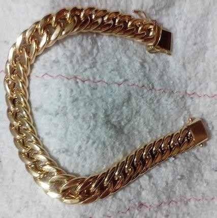 Pulseira De Ouro18k Grumet Dupla Oca 37grs 10mm 21cm