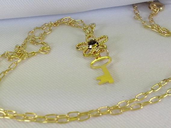 Cordao Folheado Ouro 18k Pingente Moda Luxo Chave Feminino