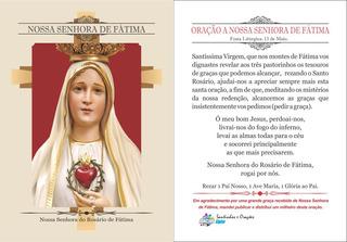 Nossa Senhora De Fátima (500 Santinhos Oração) Frete Grátis