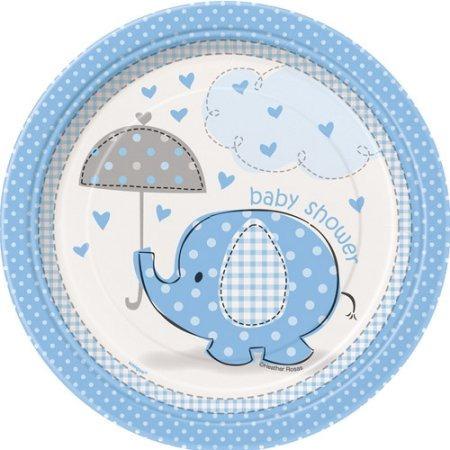 7 Blue Elephant Baby Shower Platos 8ct