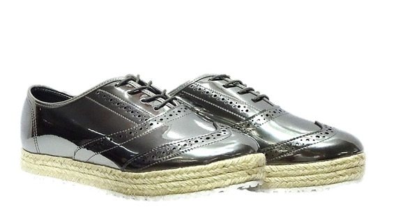 Sapato Feminino Oxford Grafite Metalizado Moleca 004449