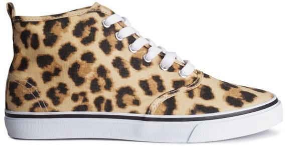 Zapatillas Botita De Lona Animal Print H&m Nuevas Importadas