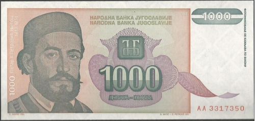 Imagen 1 de 2 de Yugoeslavia 1000 Dinara 1994 P140a