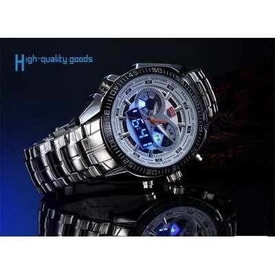 Relógio De Pulso,masculino, Pulseira De Aço De 2 Tempos