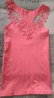 2 Camiseta Regata Com Tricot Rosa Feminina Mulheres Fashion