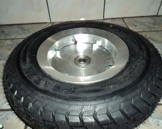 Roda De Alumínio Aro 8 Fechada Com Rolamento Pneu E Câmara