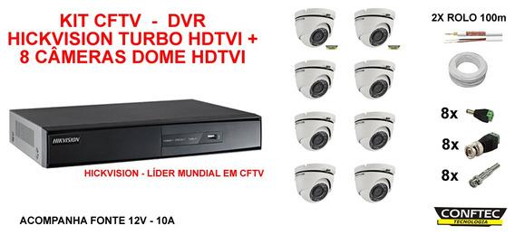Kit Dvr+ 8 Câmeras Hdtvi Hickvision Fonte Cabo Aquicompras