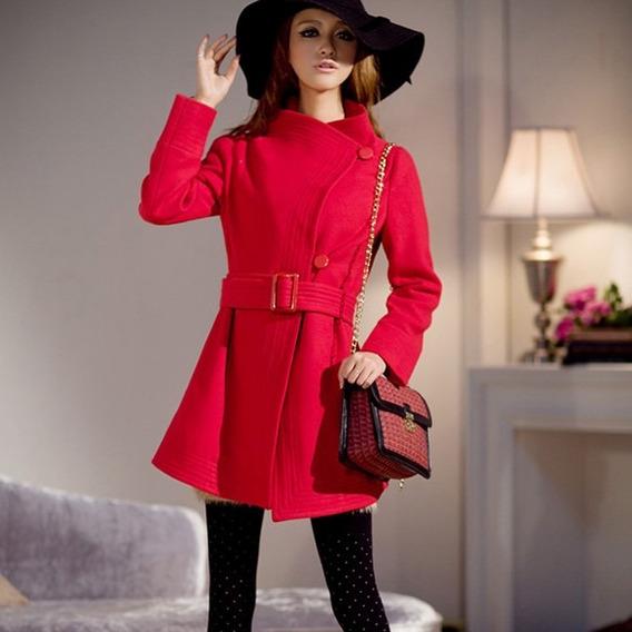 Abrigo Rojo Calientito Invierno Moda Asiatica Japonesa
