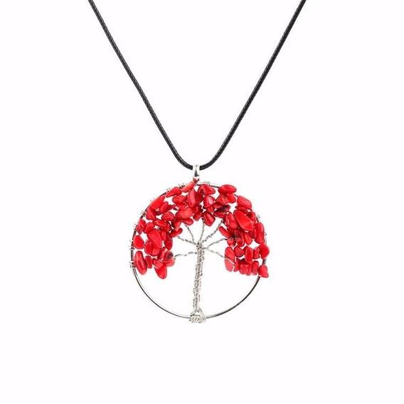 Colar Árvore Da Vida Pedra Ágata Vermelha Cordão Preto Cl 6