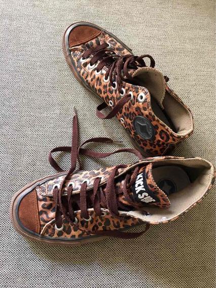 Zapatillas Kick Side Estampa Leopardo Tipo Botitas Talle 39