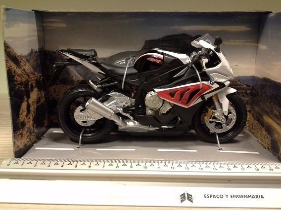 Miniatura Moto Bmw S1000rr Cor Branco Com Vermelho - 1:12