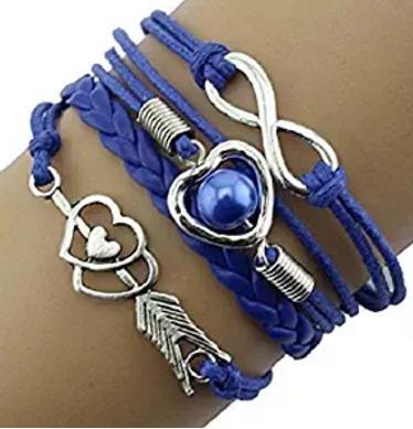 Bracelete Coração Flexado Azul - Glam0066