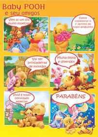 Convite Baby Pooh Em Quadrinhos