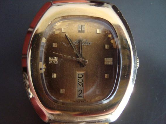 Relógio Mido Automático Calemdário Dourado, Retangular, Raro