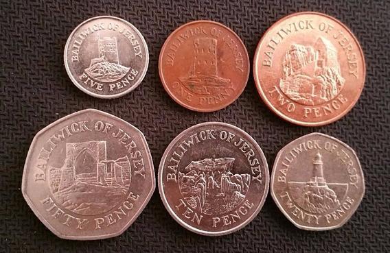 Jersey Set De 6 Monedas De Años 1984 A 2008 Sin Circular