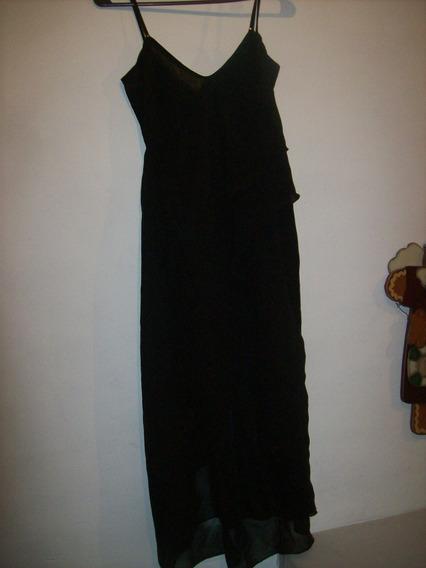 Hermoso Vestido De Gasa Negro Con Brillos Un Uso