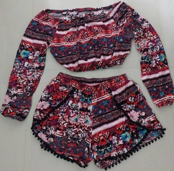 Conjuntinho Cropped E Shorts