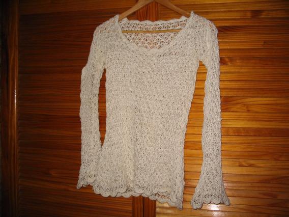 Saco Sweater De Hilo Tejido Crochet Manga Larga Crema Divino