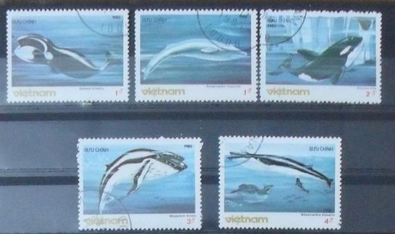 Estampillas Ballenas Viet Nam Peces Serie Comleta 1985