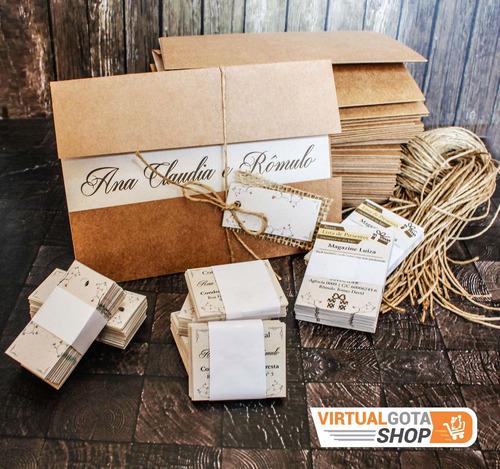 Imagem 1 de 6 de 70 Convites De Casamento Rústico Reciclado Envelope Em Kraft