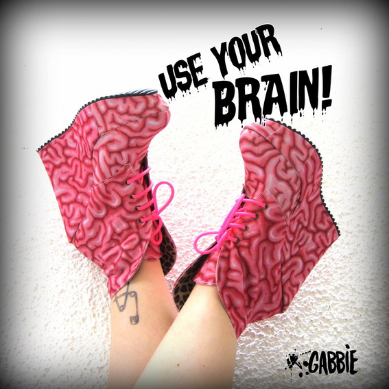 Use Your Brain Booties! Cerebro Zombie - Gabbie Custom Art