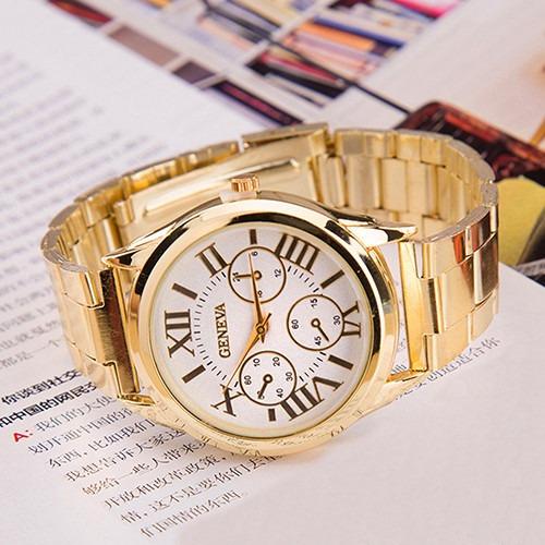Relógio Feminino Dourado Relogios Luxo Barato Analogico
