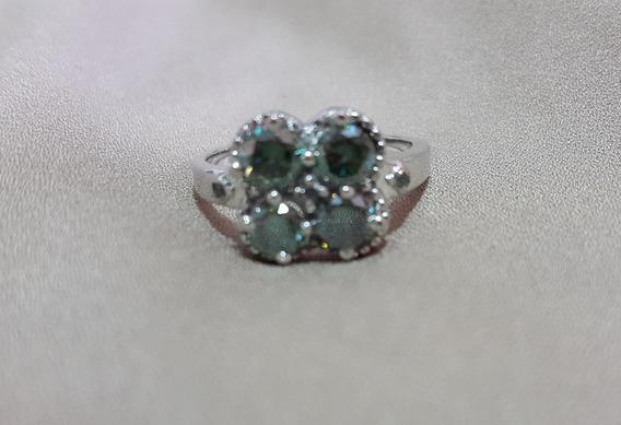 Diamantes Moisanete Verdes Naturais Em Anel De Prata Aro 18
