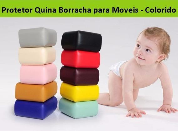 Protetor Quina Moveis Borracha Colorido - Kit Com 4 Peças