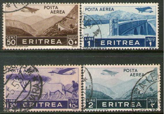 Eritrea Colonia Italiana 4 Sellos Aéreos Usados Bueyes 1936