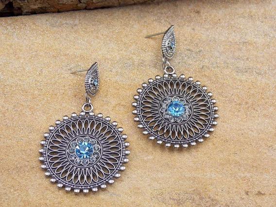 Brinco Boho Chic Mandala Azul Bijuterias