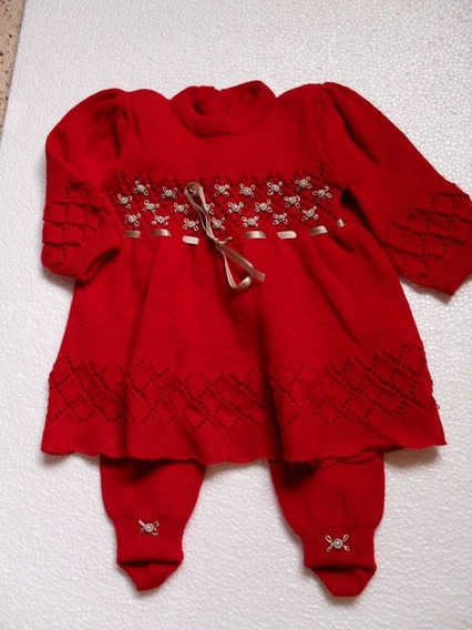 Vestido Inverno De Lã Bebe Trico Com Meia Calça