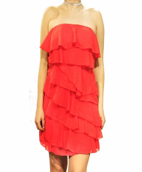Vestido Strapless Con Volados Fiesta Mujer Brishka M-0099