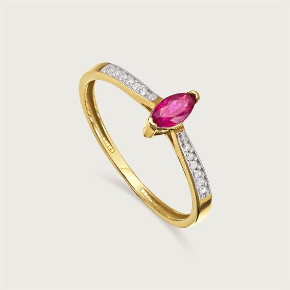 Anel Lulean Em Ouro 18k (750) Com Diamantes E Rubi