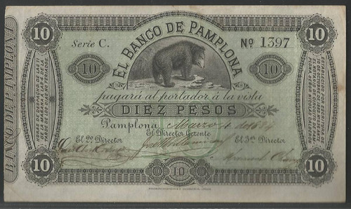 Imagen 1 de 2 de Banco De Pamplona 10 Pesos 4 Marzo 1884 Serie C Ps713