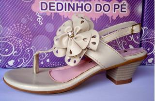 Sandália C/salto Infantil Menina Dedinho Do Pé