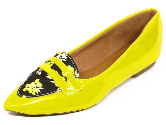 Sapatilha Mocassim Feminino Verniz Amarelo Bico Floral