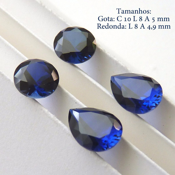 Safira Azul Pedra Preciosa Safira 8 E 10x8 Mm 4 Gemas 3072