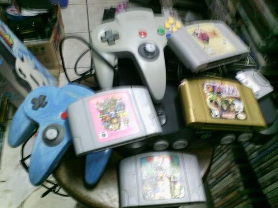 Nintendo 64 Com 2 Controles Memory Card, Mario 64 E Rush 2 E
