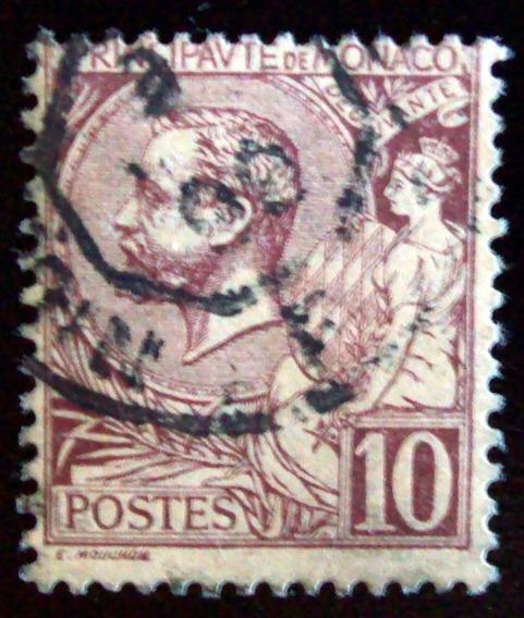 Mónaco - Sello Yv. 14 10c Príncipe Alberto I Usado L4504